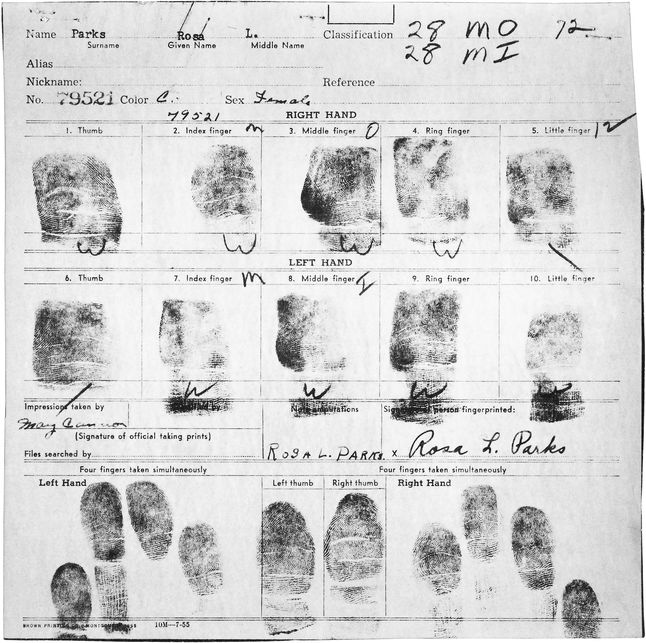 Rosa Parks' Fingerprint File