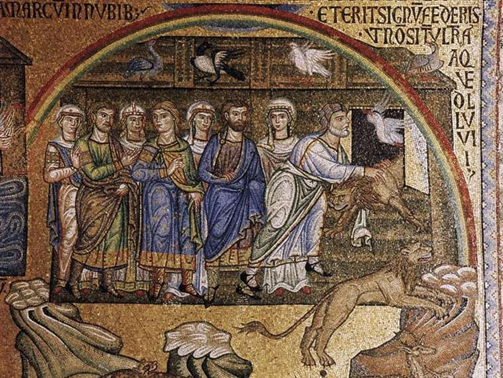 Rainbows are part of the myths of many cultures around the world. One of the most famous stories of the rainbow is the Biblical story of Noah, shown here in a mosaic at the Basilica of San Marco in Venice, Italy. God sent the rainbow as a symbol to never again destroy the Earth with flood.