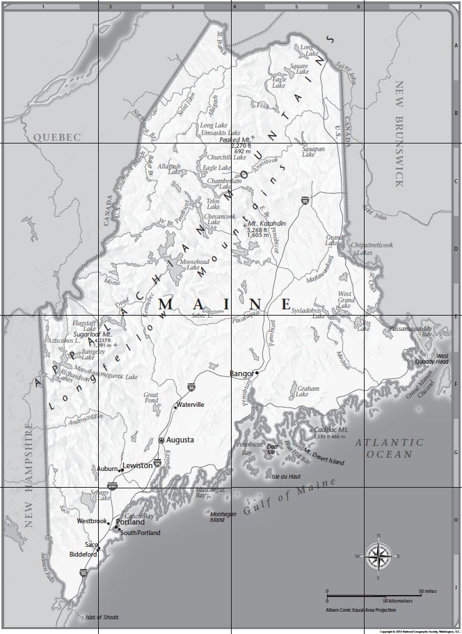 Maine Tabletop Map | National Geographic Society