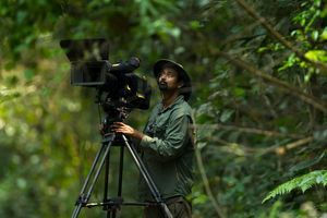 Picture of Sandesh Kadur documenting the clouded leopard in India
