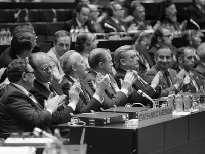 Photograph of the U.S. Delegation during the opening of the Conference on Security and Cooperation in Europe.