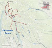 Map of Okavango Wilderness Project expedition, October-November, 2016