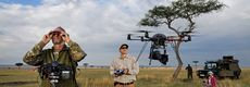 A photographer tests the micro-copter cam on wildebeest migrations.