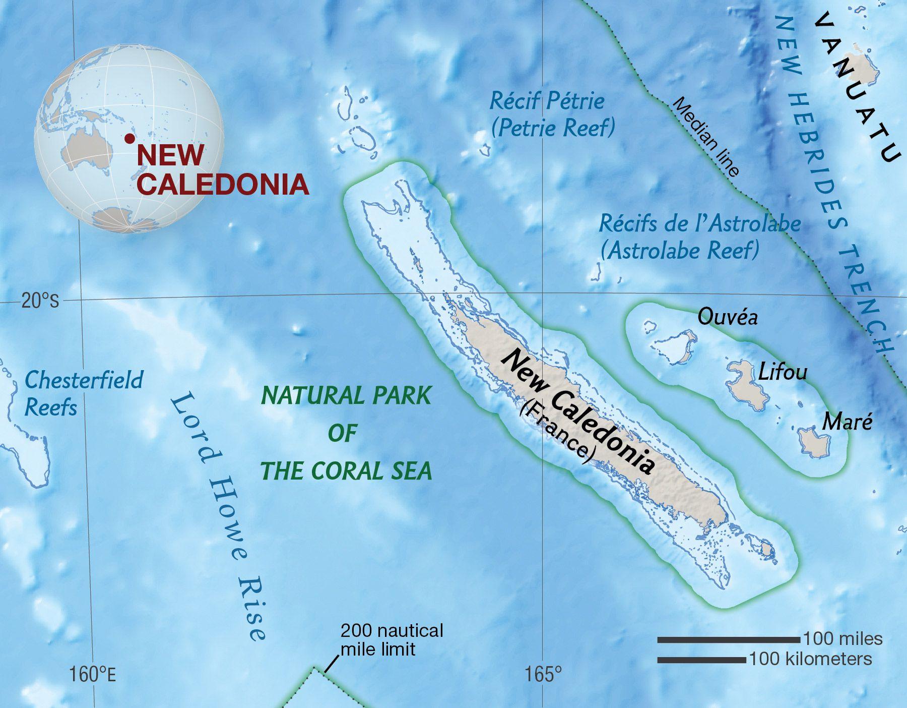 New Caledonia National Geographic Society - New caledonia map