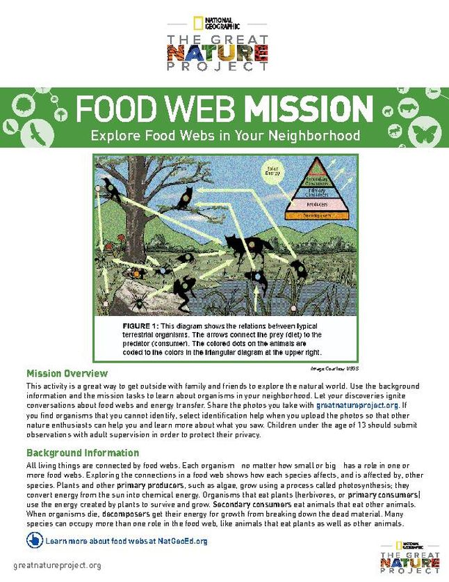 Great Nature Project Food Web Mission
