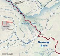 Map of Okavango Wilderness Project expedition, August-September, 2016