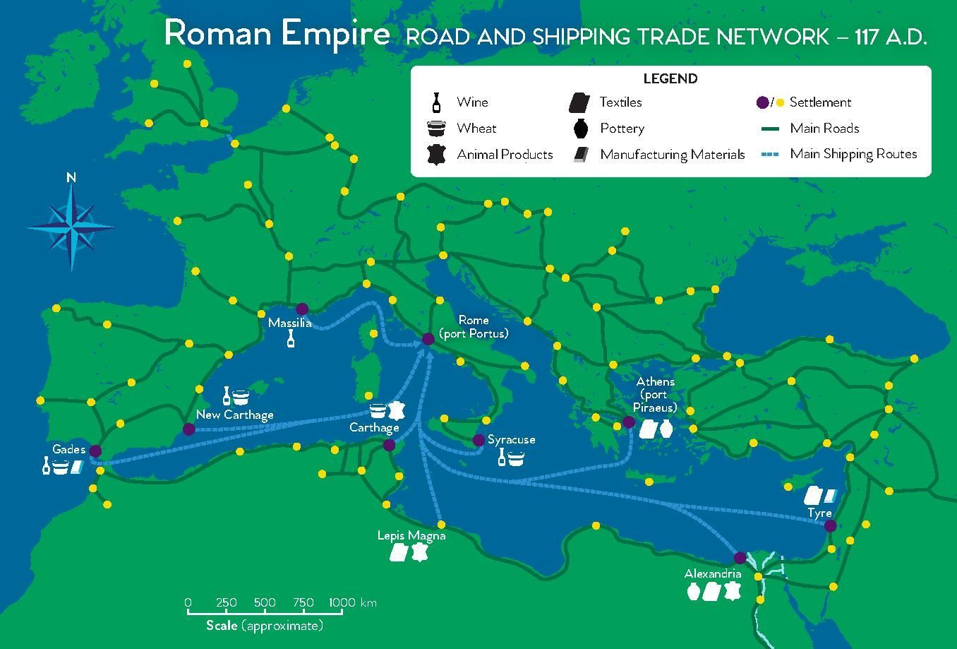 Holy Roman Empire Map 1000.Roman Empire Road And Trade Network National Geographic Society
