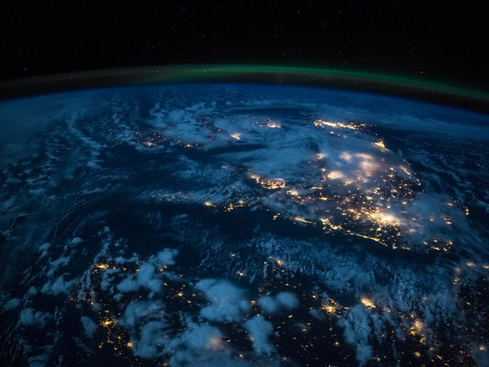 This image shows western Europe at night as viewed from the International Space Station.