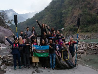 <p>Partnered with National Geographic, the female-led&nbsp;Sea to Source: Ganges team poses for a portrait in Rishikesh, Uttarakhand, India, on December&nbsp;5, 2019. The scientists are documenting plastic waste in the Ganges watershed and supporting&nbsp;holistic and inclusive solutions.</p>