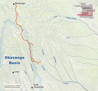 Map of Okavango Wilderness Project expedition, July-August, 2016