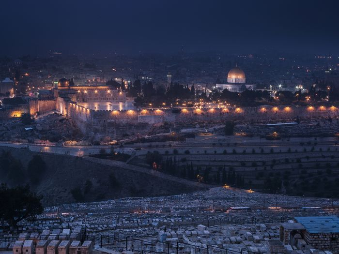 Views of the Old City of Jerusalem, taken from the Mount of Olives, with the Dome of the Rock inside the compound of Al-Aqsa (Al-Haram ash-Sharif). Below the city walls is a Muslim cemetery called Bab El Rahmeh cemetery, the slopes of the Mount of Olives in the foreground is the Jewish Mt of Olives cemetery.