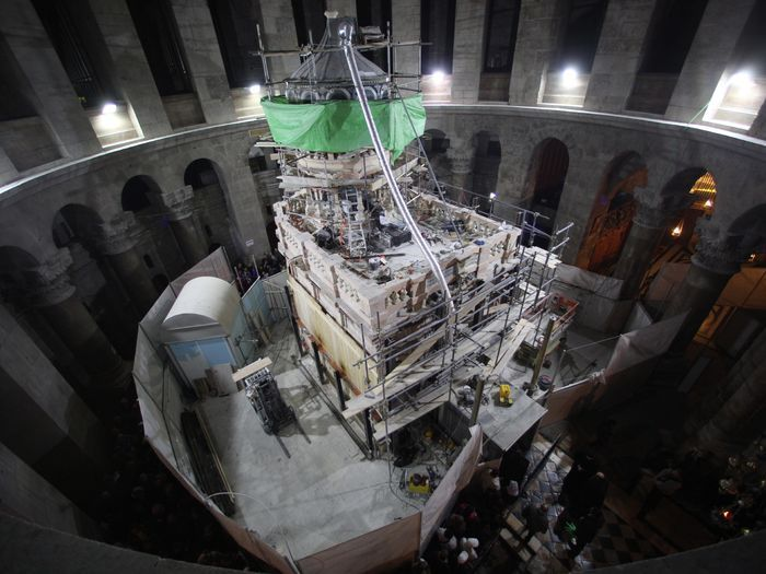 Scaffolding surrounds the Edicule during restoration work, at the Church of the Holy Sepulchre in Jerusalem's Old City.