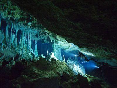 Diver exploring Blue Holes