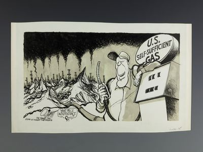 A political cartoon of a man at a gas pump with smoke stacks and oil pumps mixed with mountains in the background.
