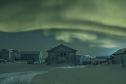 Photograph of buildings in the Russian arctic
