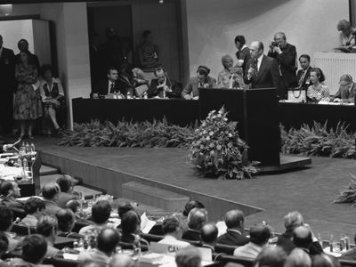 Photograph of President Ford addressing delegates during the Conference on Security and Cooperation in Europe.
