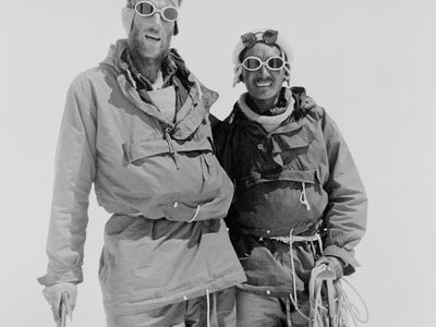 Sir Edmund Hillary (left) and Tenzing Norgay pose for a photograph at Camp 4 where they paused during their descent from Mount Everest on May 29, 1953.