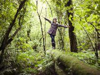 girl balancing on fallen tree