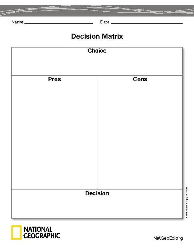 Decision Matrix | National Geographic Society