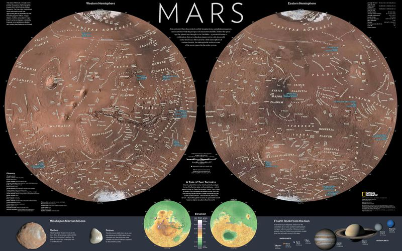 Mars national geographic society national geographic magazine mars map gumiabroncs Image collections