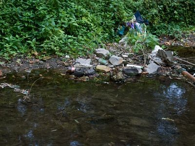 <p>Plastic litter is a serious problem around our communities, like the&nbsp;empty bottles, cellophane bags, and plastic cans around this&nbsp;stream.</p>