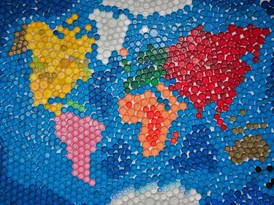 World map made by plastic caps; Shutterstock ID 191865257; Project details: National Geographic Education Resource Library ; Job: National Geographic Education Resource Library; Client/Licensee: National Geographic Society; Other: Everest Sci Unit