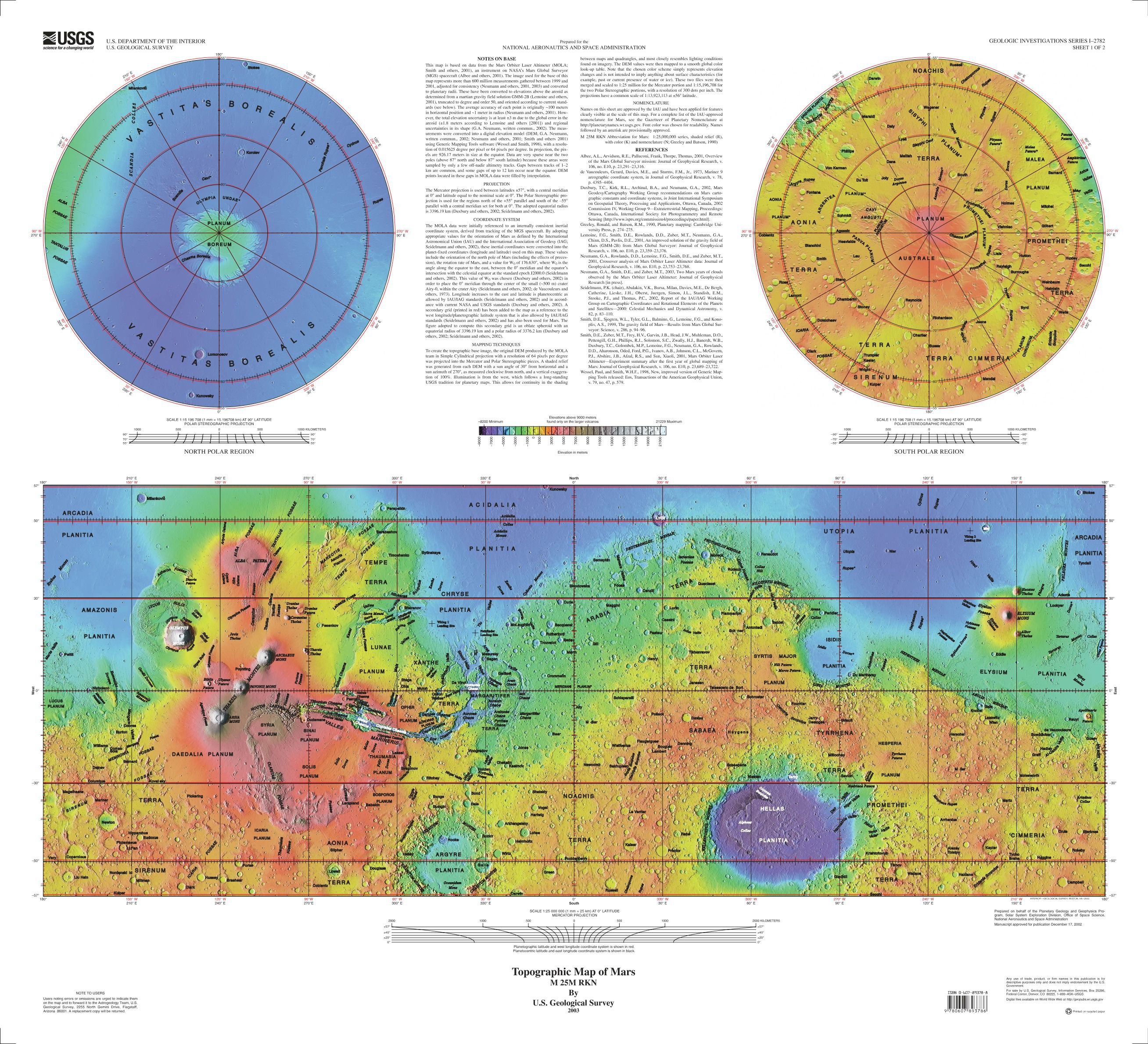 printable map of planet mars - photo #24