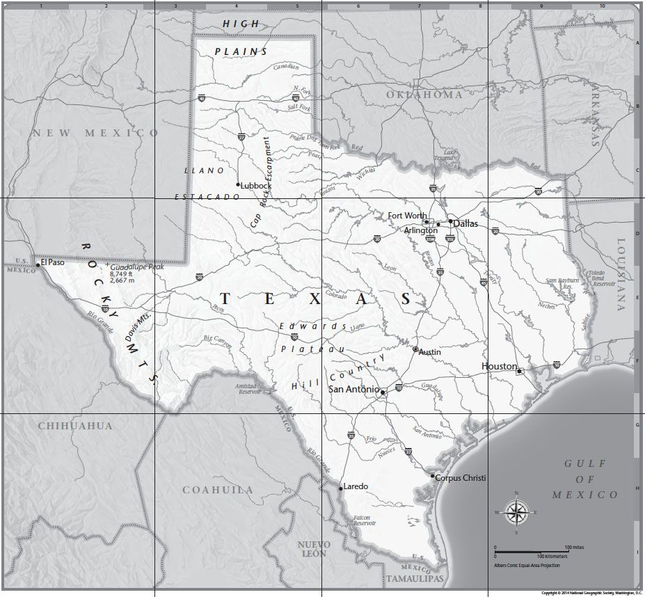 Texas Tabletop Map National Geographic Society