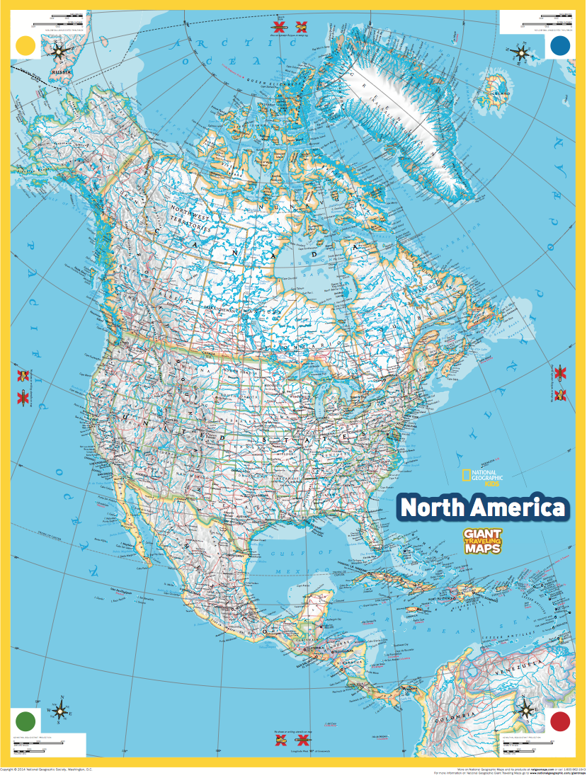 Giant Traveling Maps North America National Geographic Society – North America Travel Map