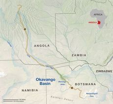Map of Okavango Wilderness Project expedition, May-September, 2016
