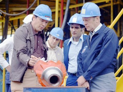 An image of President Ford visiting an oil well in the Gulf of Mexico.