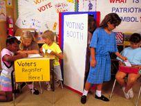 Second grade students practice voting in Elementary school