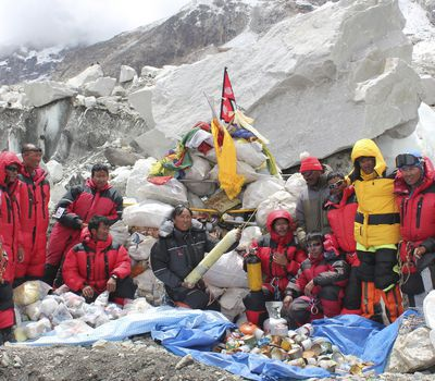 Overtime, trash and discarded gear have piled up on Mount Everest. This group of Sherpa undertook an expedition to clean up Mount Everest. The team, which included top summiters, collected 1,800 kilograms (3,968 pounds) of refuse.