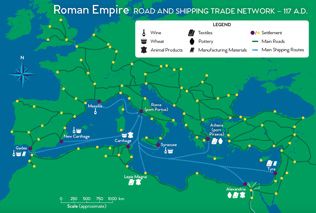 Roman Empire: Road and Trade Network | National Geographic ... on rome airport map, hills of rome map, rome city map, italy's map, early roman city map, sparta map,