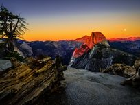 Photo of Half Dome at sunset.