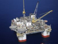 A supply ship anchors next to the St. Malo deepwater oil platform in the Gulf of Mexico.