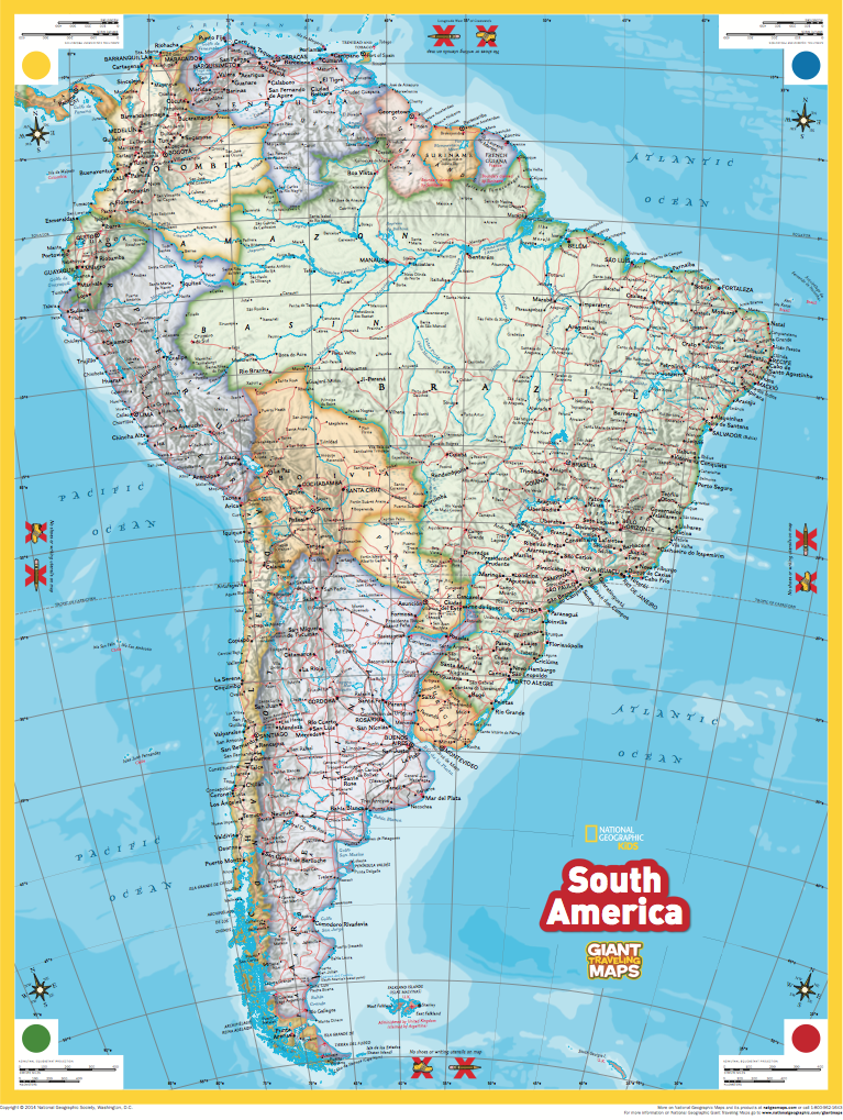 Giant Traveling Maps South America National Geographic Society – South America Travel Map