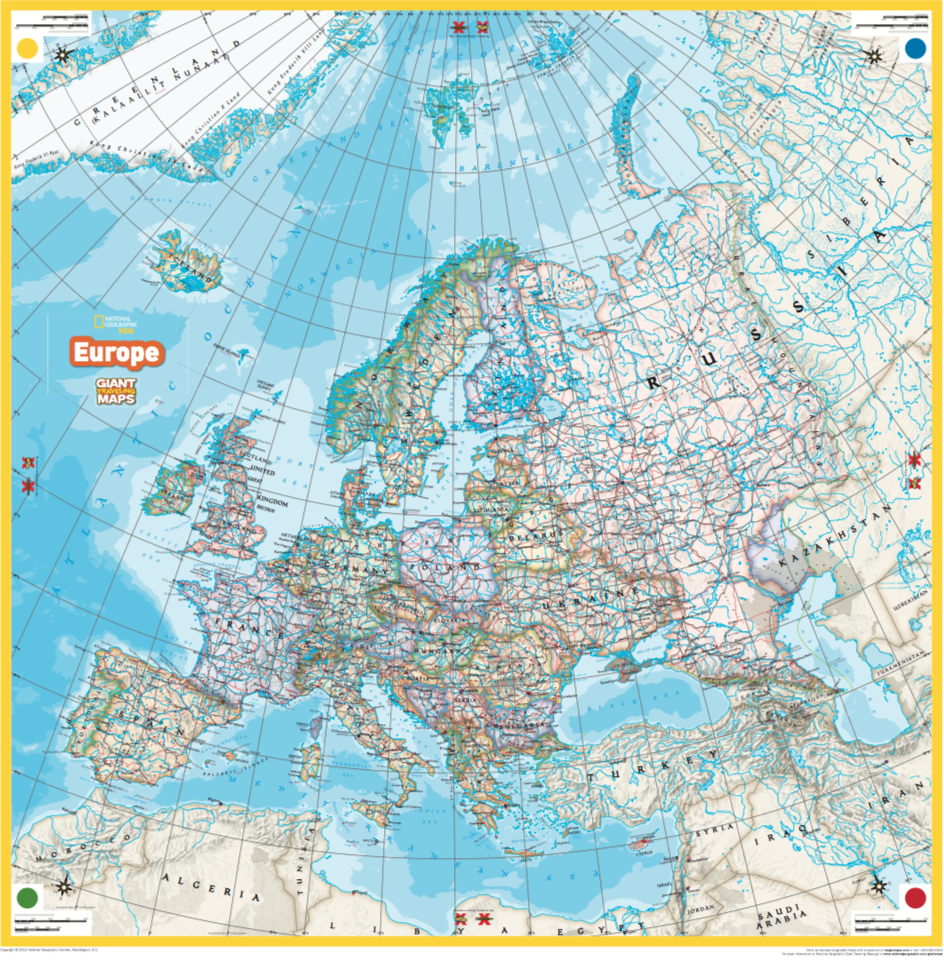 Giant Traveling Maps Europe National Geographic Society – Travel Map Of Europe With Cities