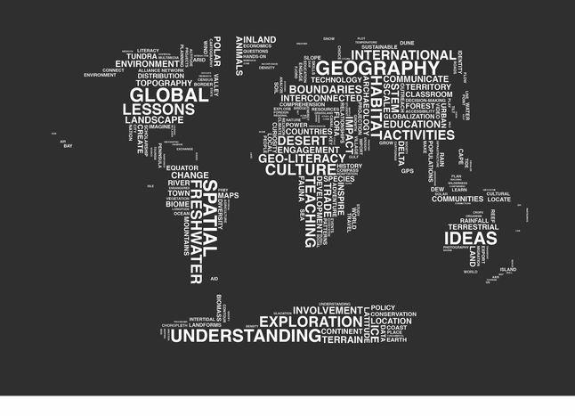Typography Map Image - Black Background