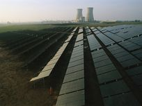 A solar panel array at California's Rancho Seco nuclear power plant.