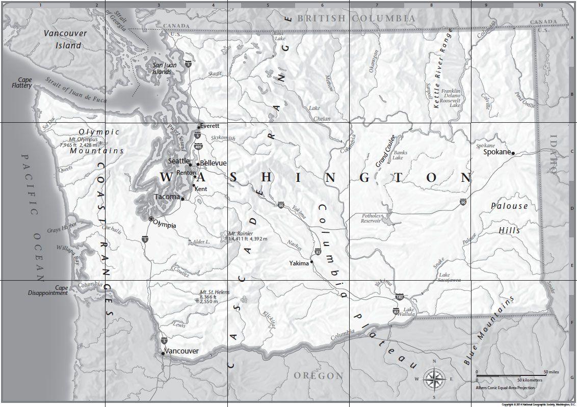 Washington Map Society.Washington Tabletop Map National Geographic Society
