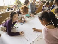 Students working on group project in art class