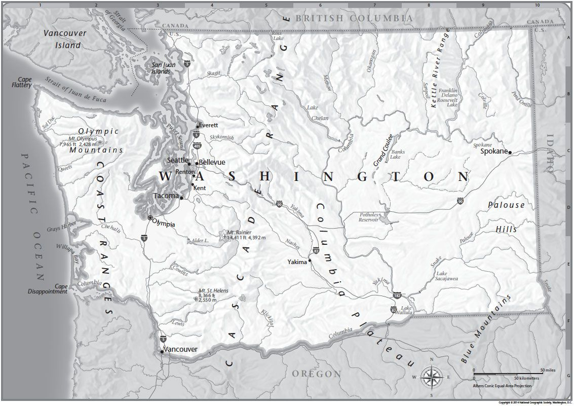 Washington Tabletop Map National Geographic Society - Us map in 2075