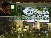 A model of a smart city shown at the Smartcity Expo, which showcased sustainable living and environmental projects.