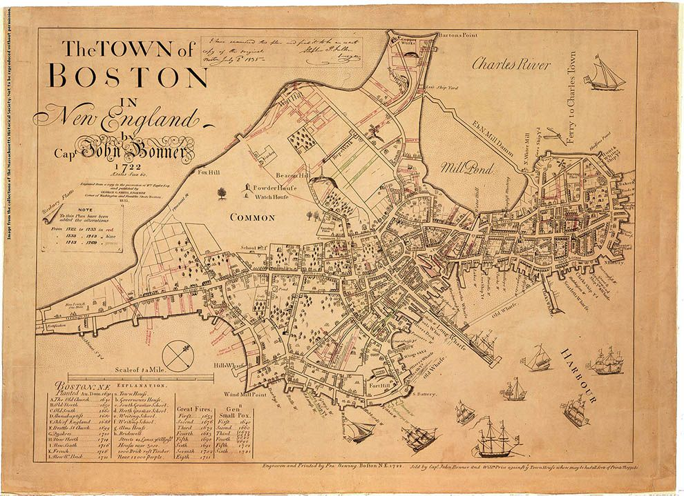Boston Map Historical Sites.Comparing Historical Maps National Geographic Society