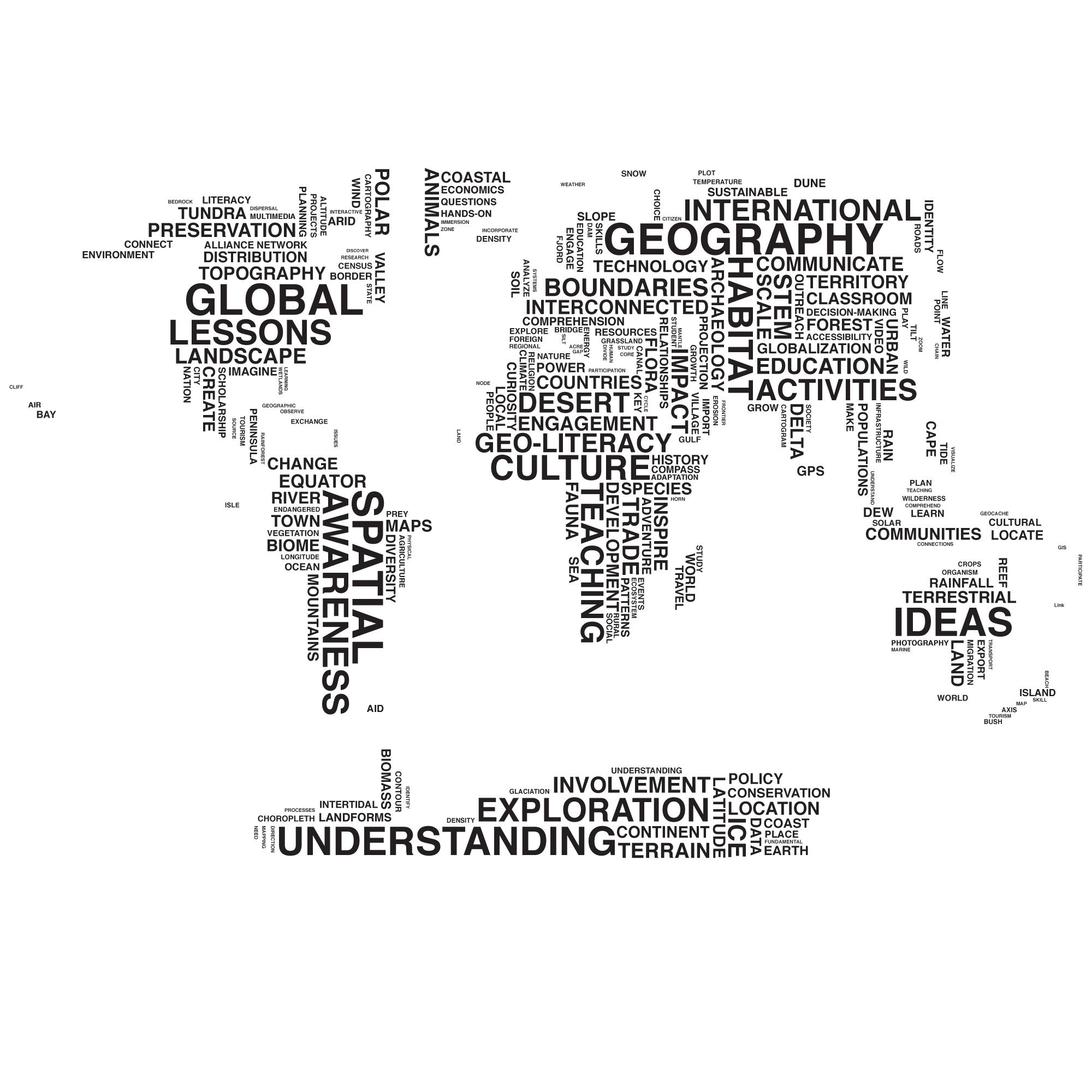 Typography Map Image White Words Clear Background