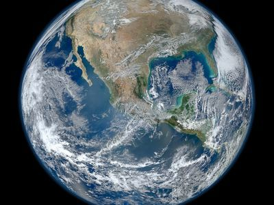 Composite image of Earth created from the VIIRS instrument on one of NASA's Earth-observing satellites.
