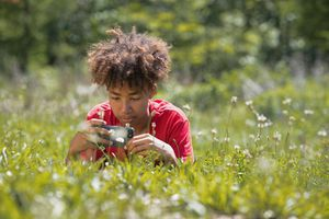 student photographs plants with a cell phone