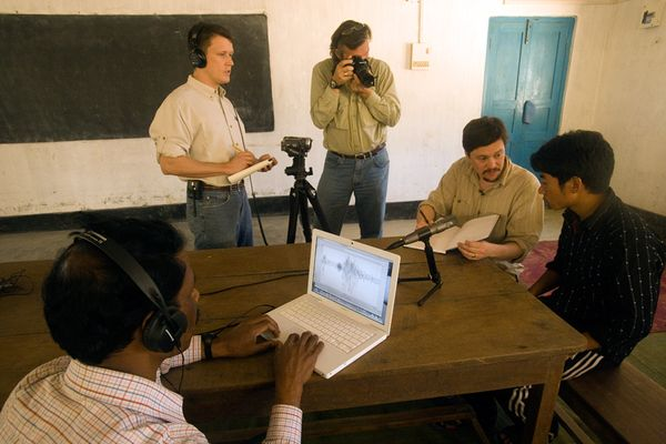 Photo: The Enduring Voices team in India working with a speaker of Aka