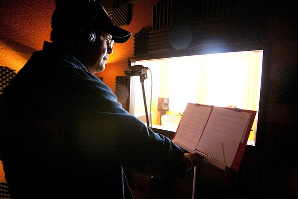 Photo: Andres Ozuna, a speaker of Chamacoco from Paraguay, records a story